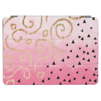 faux gold geometric pattern rose pink brushstrokes iPad air cover