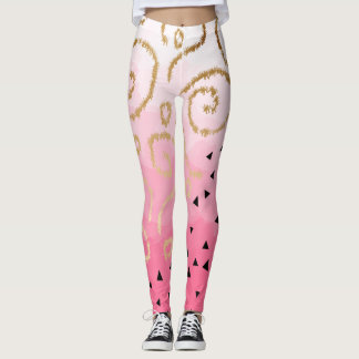 faux gold geometric pattern rose pink brushstrokes leggings