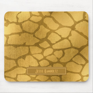 Faux Gold Giraffe Print Personalized Mouse Pad