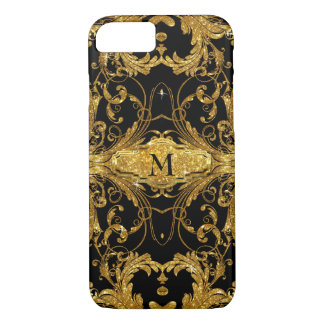 Faux Gold Glitter Art Nouveau Scroll Black Damask iPhone 8/7 Case