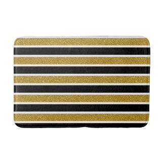 Faux Gold Glitter Black and White Stripes Bath Mat