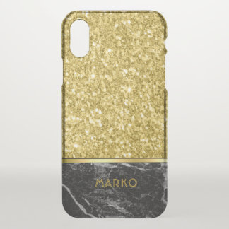 Faux Gold Glitter & Black Marble Combination iPhone X Case
