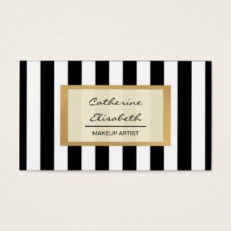 Faux Gold Glitter, Black Stripes, Makeup Artist Business Card