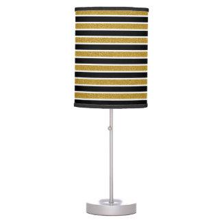 Faux Gold Glitter Black & White Stripes Table Lamp