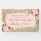 Faux Gold Glitter Blush Pink Floral Bridal Shower Banner
