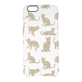 Faux Gold Glitter Cats Clear iPhone 6/6s Case