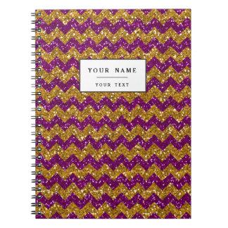 Faux Gold Glitter Chevron Pattern Purple Glitter Spiral Notebook