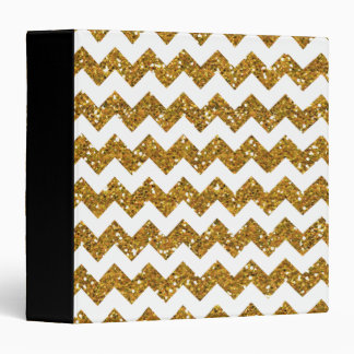 Faux Gold Glitter Chevron Pattern White Solid Binder