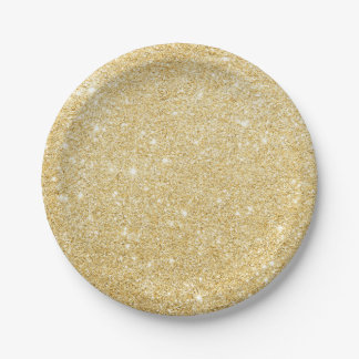 Faux Gold Glitter Chic Paper Plates