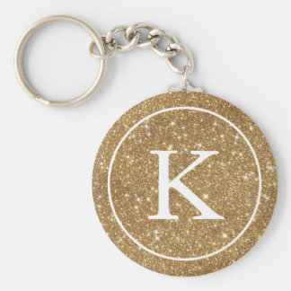 Faux Gold Glitter Circle | Monogram Initial Basic Round Button Keychain