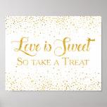 Faux Gold Glitter Confetti Wedding Dessert Sign