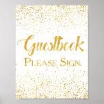Faux Gold Glitter Confetti Wedding Guestbook Sign