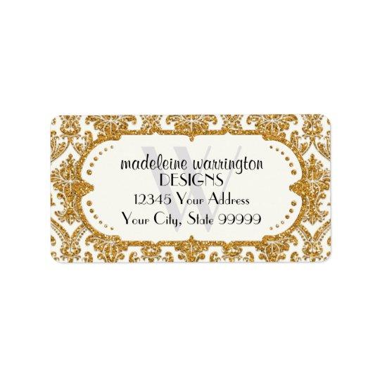 Faux Gold Glitter Damask Floral Pattern Business