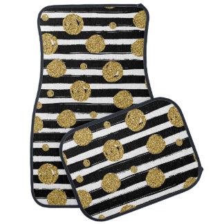 Faux gold glitter dots Black white stripes Car Floor Carpet