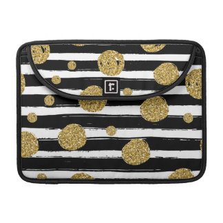 Faux gold glitter dots Black white stripes Sleeve For MacBook Pro