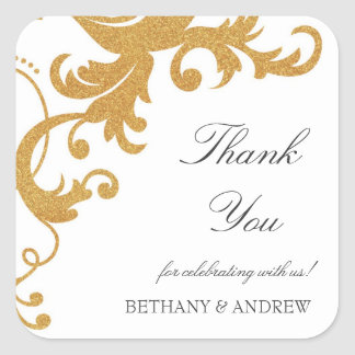 Faux Gold Glitter Elegant Damask Thank You Sticker