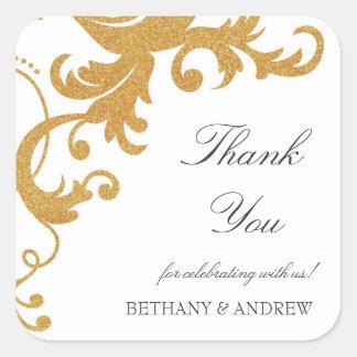 Faux Gold Glitter Elegant Damask Thank You Sticker