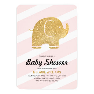 Faux Gold Glitter Elephant Pink Baby Shower Invite