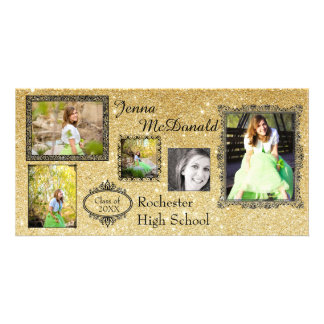 Faux Gold Glitter - Grad Announcement Photo Card