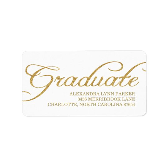 Faux Gold Glitter Graduation Address Label