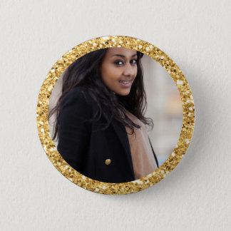 Faux Gold Glitter Graduation Student Photo 2 Inch Round Button