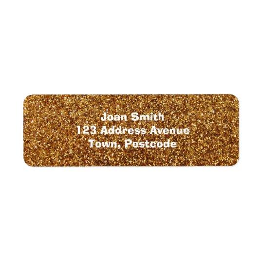 Faux Gold glitter graphic Return Address Label