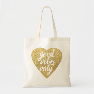 faux gold glitter heart good vibes only tote bag