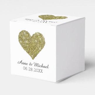 faux gold glitter heart of love / wedding favors favor box