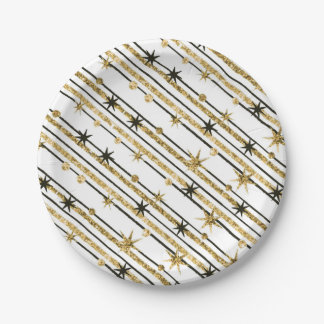 Faux Gold Glitter Holiday Stars Paper Plate