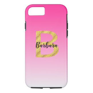 Faux Gold Glitter Initial Letter B Pink Gradient iPhone 8/7 Case
