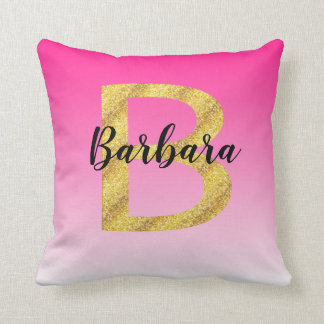 Faux Gold Glitter Initial Letter B Pink Gradient Throw Pillow