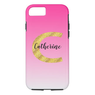 Faux Gold Glitter Initial Letter C Pink Gradient iPhone 8/7 Case