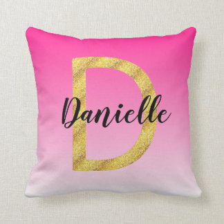 Faux Gold Glitter Initial Letter D Pink Gradient Throw Pillow