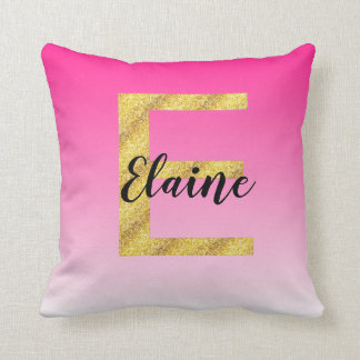 Faux Gold Glitter Initial Letter E Pink Gradient Throw Pillow