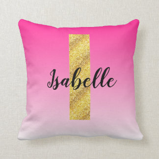 Faux Gold Glitter Initial Letter I Pink Gradient Throw Pillow