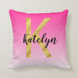 Faux Gold Glitter Initial Letter K Pink Gradient Throw Pillow