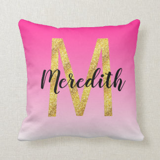 Faux Gold Glitter Initial Letter M Pink Gradient Throw Pillow