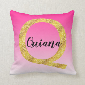 Faux Gold Glitter Initial Letter Q Pink Gradient Throw Pillow