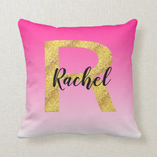 Faux Gold Glitter Initial Letter R Pink Gradient Throw Pillow