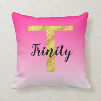 Faux Gold Glitter Initial Letter T Pink Gradient Throw Pillow
