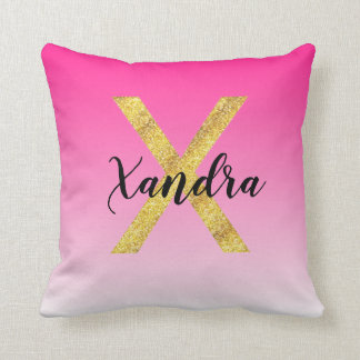 Faux Gold Glitter Initial Letter X Pink Gradient Throw Pillow