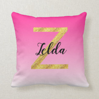 Faux Gold Glitter Initial Letter Z Pink Gradient Throw Pillow