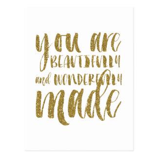 Faux Gold Glitter Inspirational Flat Note Card Postcard