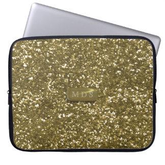 Faux Gold Glitter Laptop Sleeve