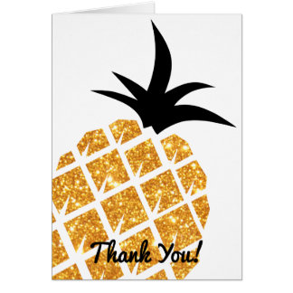 Faux Gold Glitter Pineapple Thank You Card