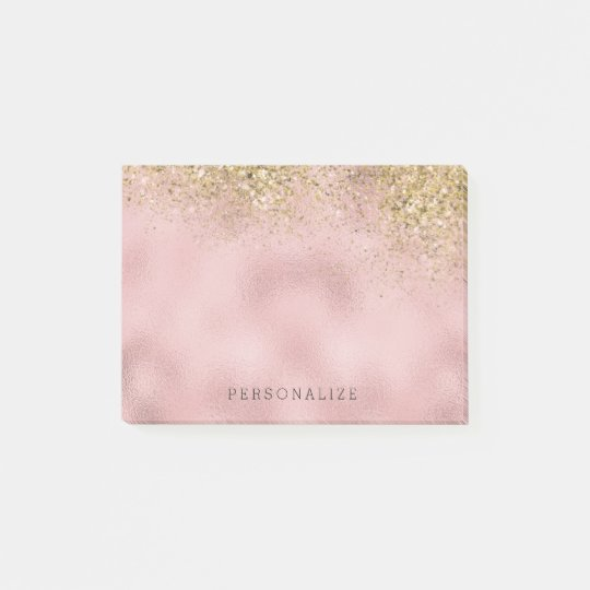 Faux Gold Glitter Pink Faux Foil Post-it Notes