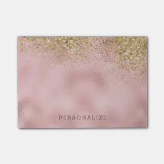 Faux Gold Glitter Pink Faux Foil Post-it® Notes