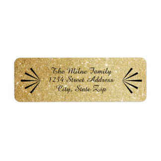Faux Gold Glitter Retro Address Labels