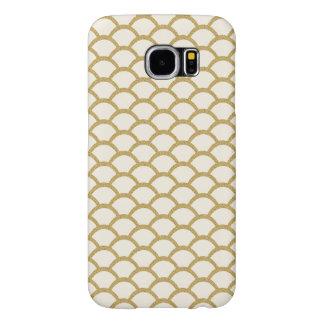 Faux Gold Glitter Scallop Pattern, Modern Chic Samsung Galaxy S6 Cases