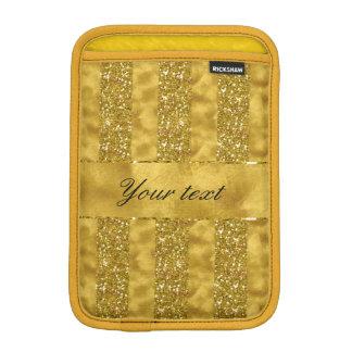 Faux Gold glitter stripes on Gold Foil Sleeve For iPad Mini
